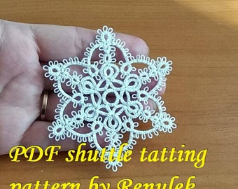 "Star ""MILA'PDF Original Shuttle Tatting Pattern. Instant Digital Download. Tatting yourself. xmas gift. schemat frywolitki."
