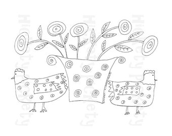 Primitive Stitchery Pattern Embroidery Chickens Chicken Hen Flower Basket Punch Needle Embroidery Coloring Sheet  Instant Download