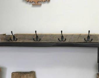 Rustic coat rack -  Hand Hewn barnwood