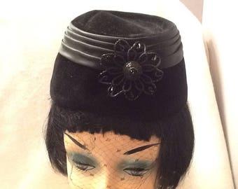 Vintage Womens Pillbox Hat Black Netting Formal Velvet