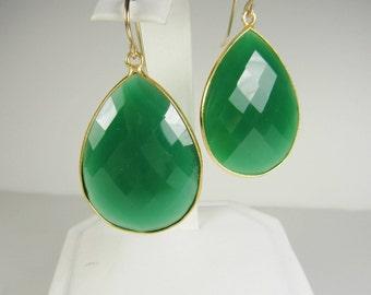 Large Green Onyx Teardrop Earrings, Gold Vermeil Bezel Set, Statement Earrings, Large Earrings, Green Earrings, Inspired by Stella and Dot