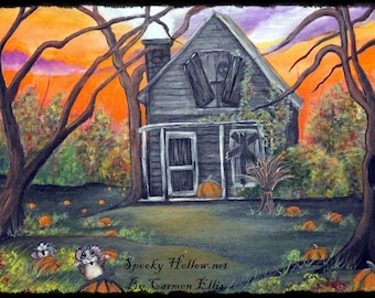 Halloween Folk Art Color Print Haunted Pumpkin Farm by Carmen Ellis