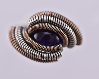Size 5  - Amethyst Simple Blackened Sterling Silver and 14K Gold filled Wire Wrapped Ring