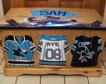 CUSTOM DESIGNED Hockey Toy Box, Designed with your sport, wooden hand-made and painted chest, kids furniture, personalized name, birth date