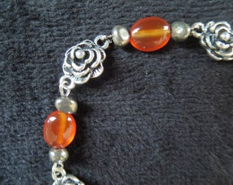 """Bracelet """"roses"""" with carnelian and pyrite beads"""