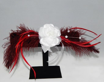 White Flower Corsage With Feathers
