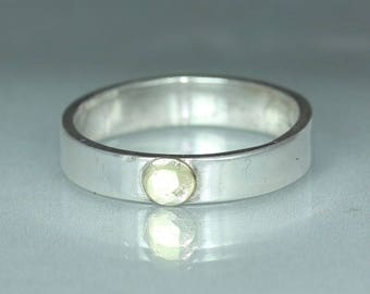 A handmade  Textured Hammered Silver Gold Wedding Band Rustic Organic Mans ring Womans Ring
