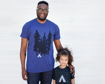 Matching Adventure Shirts Dad Daughter, Father and Son Kids Outdoor Gift Men, Dad Matching Wanderlust Camping Tent Tshirt Set, Starry Night