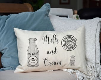 Farmhouse Personalized Pillow, Milk and Cream, Barn, Farm, Country, Wedding gift, Housewarming, Trending farm style