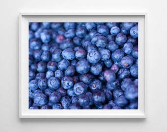 Blueberries Food Photography - Blue Kitchen Decor Food Art, Blue Kitchen Art, Restaurant Decor - Large Wall Art Prints Available