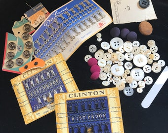 Lot of Vintage Buttons, Hooks & Eyes, Snaps and 1 Lonely Collar Stay