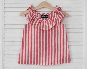 Linen baby clothes, linen baby blouse, newborn linen clothes, striped summer blouse, baby shower gift, baby girl shirt, linen baby outfit