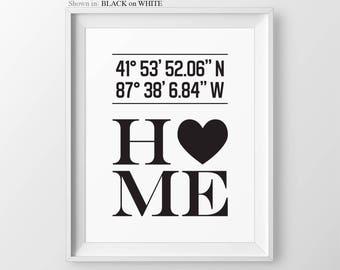 Custom Latitude Longitude Print Personalized House Coordinate Print Gift For Couple Anniversary Gift for Couple Housewarming Gift for Couple