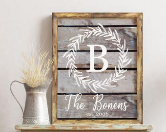 Custom Family Printable Personalized Wedding Gift Sign Farmhouse Wedding Gift / Customized Established Sign First Anniversary Gift Wall Art