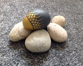 Painted stone, rock, scottish cobble, hand painted home or garden ornament in gold and grey,unique one off design rock art