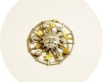 Vintage Pin, Moon Star Pin, Sun Face Pin, Celestial Brooch, Sun Moon Stars