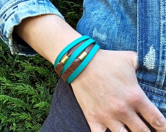 Layered Leather Bracelet & Raw Brass Beads Unisex Cuff * SALE * Coupon Codes