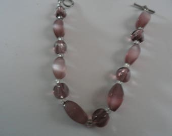 Bracelet with Rose Colored Glass Toggle clasp