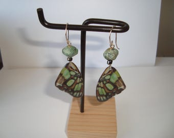 Green and Black Butterfly Wings Hang from Green Semstone Agate Beads and from Sterling Silver Ear wires, Handmade,  Nature Design