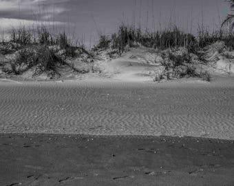 Sand, Grass, Sky, Cocoa Beach, FL, Landscape, Abstract, Minimalism, Fine Art Photo, Split-toned, B&W, Download, Wall Art, Poster, # _1000205