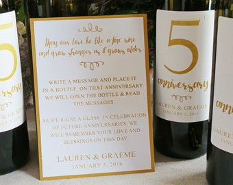 Guest Book Anniversary Wine Labels 4+ labels, 1 instructional sign..choose your colors and numbers.... Faux Gold Foil