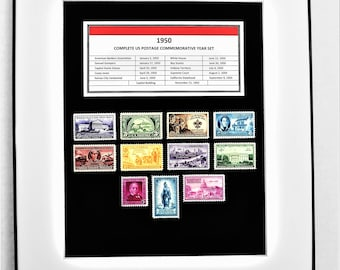 1950 Complete US Postage Commemorative Year Set - Birth Year Gift - Postage Art