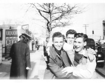 """Vintage Snapshot """"Teenage Boys"""" Laughing Teenagers Liquor Store Beer Antique Car Downtown Found Photo"""