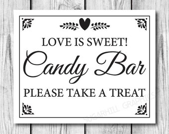 Printable Wedding Sign, Wedding Sign, Wedding Candy Bar Sign, Wedding Decor, Instant Download, Wedding Signage
