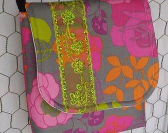 Grey & Pink Floral Crossbody Bag with Ribbon Embellishment