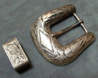 Gürtelschnalle Vintage Sterling Silber und Loop-Cowboy Stil Vintage Gürtel Schnalle-Western Stil Vintage Gürtel Gürtelschnalle