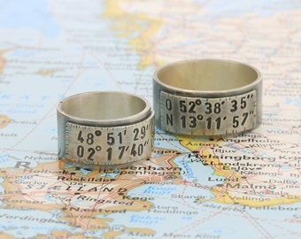 Ring with coordinates, silver, personalizable, Longitude, latitude, longitude, latitude, stamped, stamped