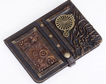 Steampunk leather journal, leather notebook, travel journal, steampunk, journals with lock