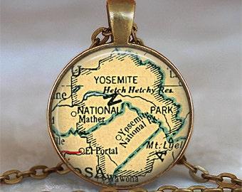 Yosemite National Park map pendant, Yosemite map pendant Yosemite map necklace Yosemite pendant Yosemite necklace key chain key ring key fob