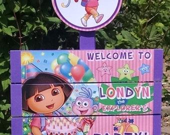 Dora Birthday Yard Sign