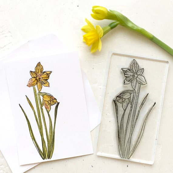 Daffodil Clear Rubber Stamp - Daffodil Stamp - Daffodil - Miniature Daffodil - Sailboat - Clear Stamp - Rubber Stamp - Little stamp store