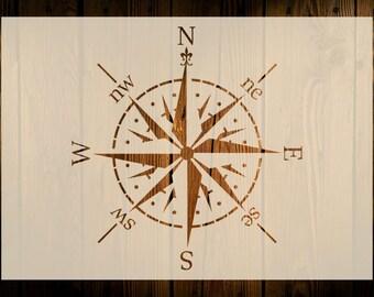 Compass Stencil, Various Sizes, Reusable, Windrose Nautical Navigation Art Crafts Paint Wood Decor Walls Floors Fabrics Furniture DIY