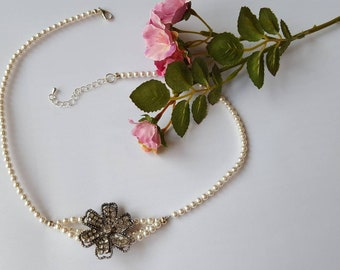 Bridal Pearl Necklace, Rhinestone Necklace, Vintage Necklace, Wedding Necklace, Swarovski Pearl Necklace, Classic Pearl Necklace