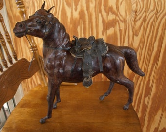 Vintage Leather Bound Wrapped Horse Sculpture Statue Figure – Nice Detail