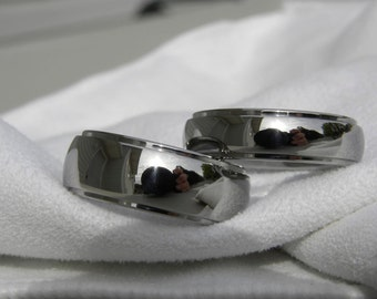 Matching Ring Set, Titanium Wedding Bands, Domed Stepped Profile