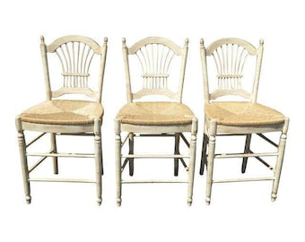 Set of Three French Country Rye Seat Barstools ~Off White  with Wheat Sheaf Back