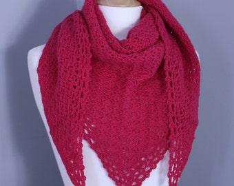 Bubblegum Shawl Shawlette Scarf Crochet in pink Alpaca