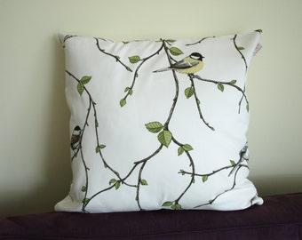 Pillow cover white yellow bird green black Birch Birds Botanical Decorative pillow for Throw pillows Floor Cushions Accent Pillows