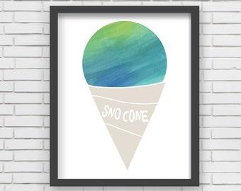 Watercolor Sno Cone Home Decor Nursery Wall Art - Green Sno Cone - 8x10 or 11x14