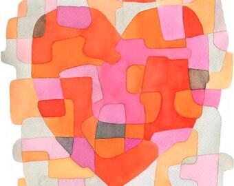Moderne Art Print Poster «Coeur» anniversaire cadeau cadeau de mariage rose orange rouge gris 11 x 16