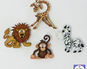 SALE!  SILLY SAFARI buttons by Dress It Up to embellish cards, scrap books, children's clothing