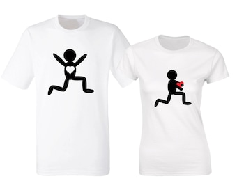 His and hers matching white T-shirts with stolen heart. Valentine's day or anniversary present.