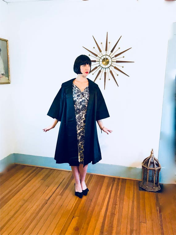 Best & Co Coat, 1950s swing coat, Silk Satin Overcoat, Vintage 50s coat, Black Opera Coat,3/4 Sleeve,Womens 50s Coat,Full Sweep,Trapeze coat
