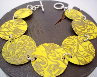 Mustard Yellow and Gold Origami Bracelet