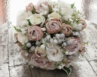 Hannah Bridal Posy - Dusty Mauve Pink & Ivory Rose and Baby's Breath Elegant dusty pink Silk Wedding Bridal Bouquet