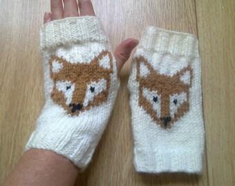 Wrist warmers - fox - fingerless gloves